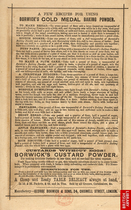 Advert For Borwick's Baking Powder reverse(014EVA000000000U06738V00)